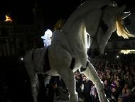 Vista de la plaza de la Catedral llena de gente con un espectáculo de un caballo sobre el escenario